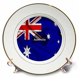 3dRose cp_204477_1 Australian Flag Design Porcelain Plate, 8\