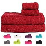 Casa Basics 450 GSM Premium Quick Dry 4 Pcs Bath Towels Set- Red (Bath,Hand Towel Set)