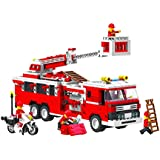 Top Race® Fire Truck Vehicle Building Set (576 Pieces) with Fire Chief Motorcycle and Accessories, Building Blocks, Lego Style