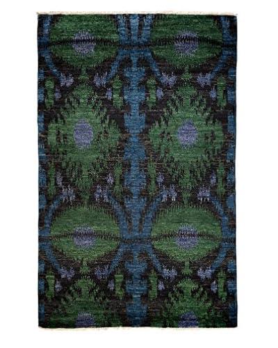 Darya Rugs Ikat Oriental Rug, Black, 5′ 1″ x 8′ 2″
