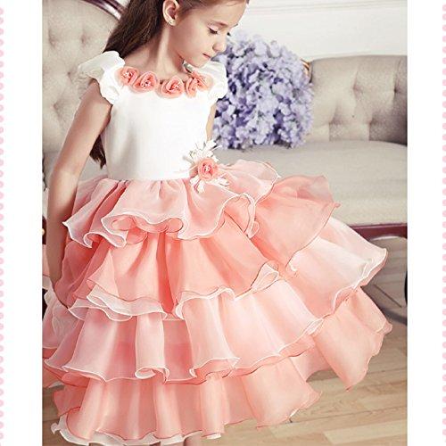 【ノーブランド品】発表会 子供 フォーマル キッズ 女の子 用ドレス 130cm オレンジ