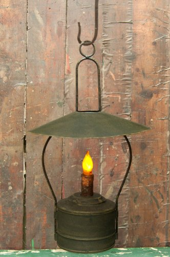 Nook Candle Lantern with Distressed Black Finish and Timer Candle