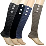 Triple Button Trimmed Classic Boot Shaft Style Ribbed Knit Soft Acrylic Leg Warmer