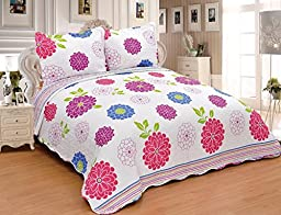 FT Home Fashion Girl\'s Cute Pink Blue Green White Orchid Floral Printed Twin Size Quilt Coverlet Set, 2 Pieces