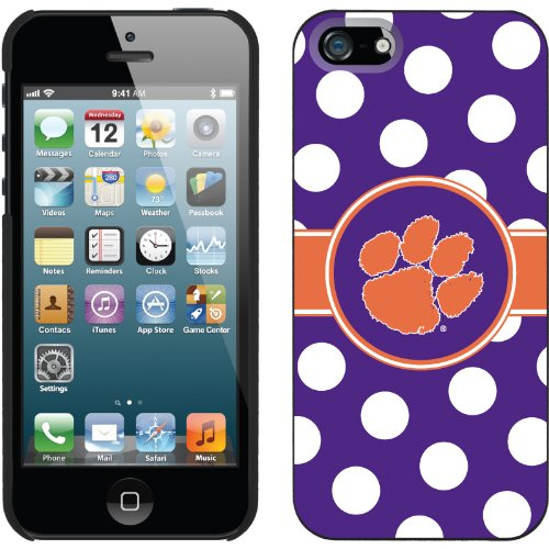 Special Sale Clemson - Polka Dots design on a Black iPhone 5 Thinshield Snap-On Case by Coveroo