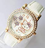 New Fashion Rhinestone Hello Kitty Wrist Watch Bracelet-white