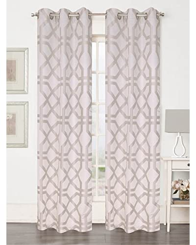 Beatrice Home Fashions Set of 2 Basque Curtain Panels, Ivory