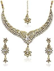 Shining Diva Amazing Kundan Stone Necklace Set With Mang Tika