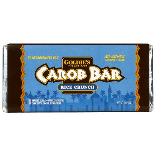 Goldie's Premium Carob Bars, Rice Crunch, 3-Ounce Bars (Pack of 12)