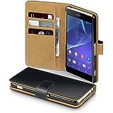 Terrapin Handy Leder Brieftasche Case Hülle mit Kartenfächer für Sony Xperia Z2 Schwarz mit Hellbraun Interior