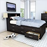 Sonax S-101-LWB Willow Single Captains Storage Bed with 6-Drawer in Ravenwood Black