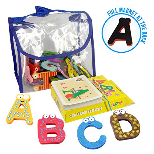 Joy Abc's | 40 Pcs Wooden Refrigerator Alphabet Letters and Numbers Magnets with Flash Card Bonus | Full Magnet at the Back and Safe Perfectly Shaped and Sized for Kids Toddler | Packed in a Tote Bag (Baby Food Tags compare prices)