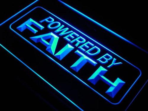Powered by Faith Home Decor LED Sign Neon Light Sign Display j612-b(c)