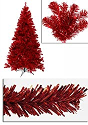 5' Pre-Lit Red Full Artificial Sparkling Tinsel Christmas Tree- Red Lights