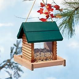 North States Hanging Log Cabin Birdfeeder-Green Roof