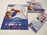 Disney Frozen 3pc Activity Play Pack! Includes Coloring Paint Set, 12 Watercolor & Resuable Stickers Set! Fun, Safe & Easy to Use! Non Toxic