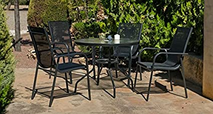 """Hevea - Table de jardin ronde """"Teluro"""" 90 cm + 4 fauteuils"""