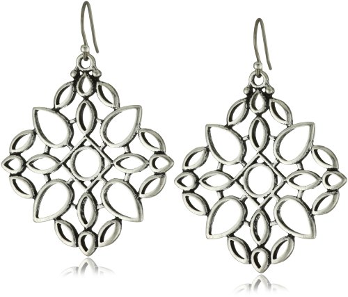 Lucky Brand Silver-Tone Openwork Drop Earrings