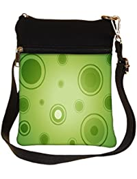 Snoogg Abstract Green Circles Cross Body Tote Bag / Shoulder Sling Carry Bag