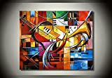 Ode-Rin Art Christmas Gift 100% Hand Painted on Canvas Abstract Music Paintings Wall Art Decoration Home Oil Painting I Love My Family 1-pieces Artwork for Living Room Home and Wall Decoration
