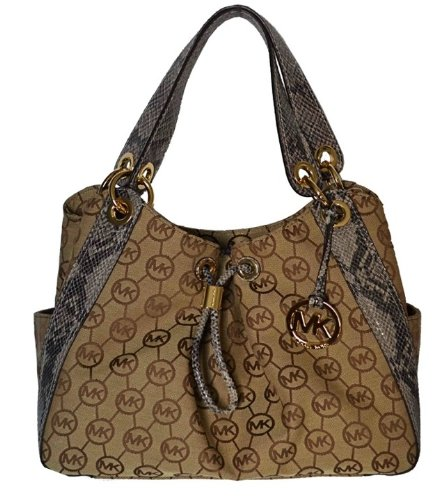 Michael Kors Monogram Signature LUDLOW Large Shoulder Tote Bag Handbag - Beige / Natpyt