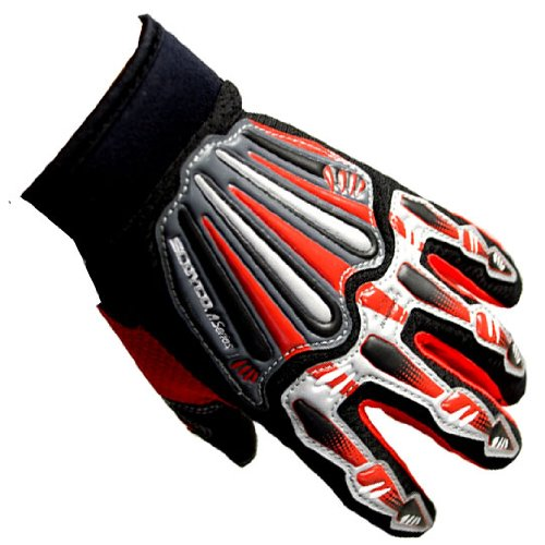 Motocross Motorcycle BMX MX ATV Dirt Bike Skeleton Racing Gloves Red