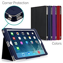 CaseCrown Bold Standby Pro Case (Blue) for Apple iPad Air with Sleep / Wake Hand Grip Corner Protection & Multi-Angle Viewing Stand