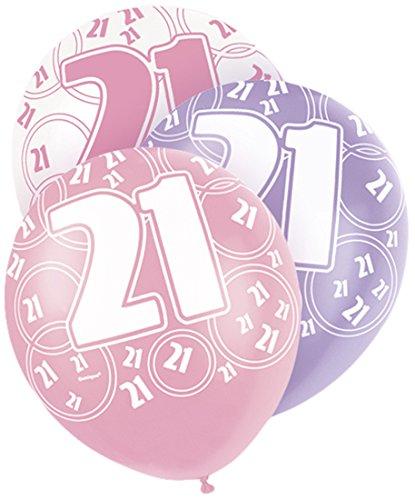 12-latex-glitz-pink-21st-birthday-balloons-pack-of-6