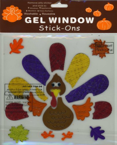 Feathered Thanksgiving Turkey Gel Window Clings - 1