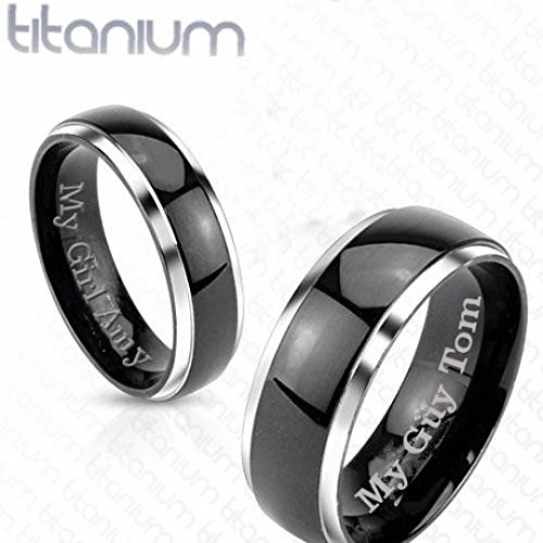 Personalized Titanium Two Tone Silver & Black Band Ring Set Custom Engraved Free