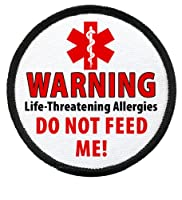 DO NOT FEED ME Food Allergy Warning Alert 2.5 inch Black Rim Sew-on Patch by Creative Clam