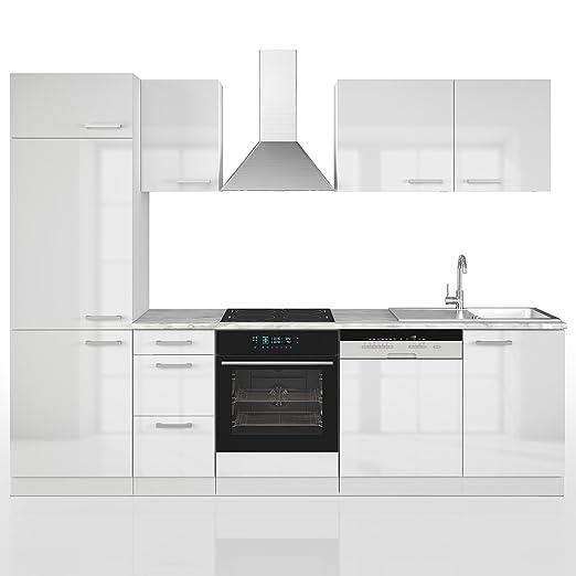 VICCO Kuche 270 cm Kuchenzeile Kuchenblock Einbaukuche Komplettkuche – Weiß Hochglanz Frei Kombinierbar