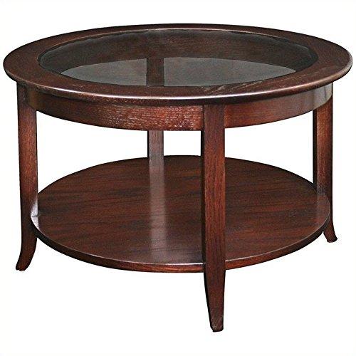 Leick Furniture 10037 Round Coffee Table Chocolate Oak Finish
