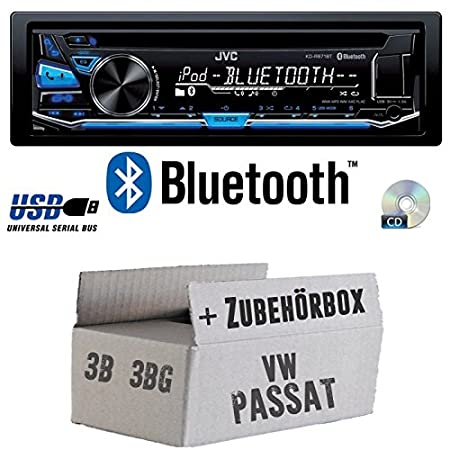 VW Passat 3B + 3BG - JVC KD-R871BT - Bluetooth CD/MP3/USB Autoradio - Einbauset