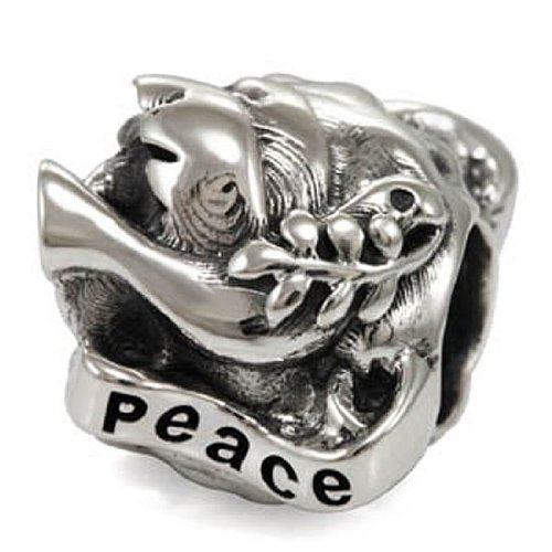 Ohm Sterling Silver Peace on Earth Dove Bead Charm