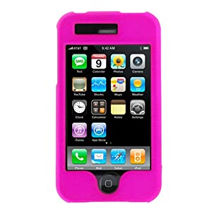 RUBBER FEEL Hot Pink Snap-On Cover Hard Case Phone Protector for Apple iPhone 3G