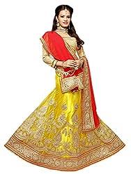 Jiya Presents Embroidered Net Lehenga Choli(Yellow,Beige)