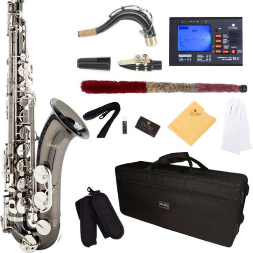 Mendini MTS-BNN Black Nickel Plated Body w/ Nickel Plated Keys (Two Tone) B Flat Tenor Saxophone + Hard Case, Accessories &amp; Chromatic Tuner with Metronome