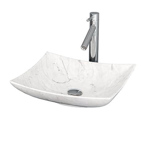 Wyndham Collection Arista Vessel Vanity Bathroom Sink in White Carrera Marble