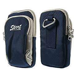 Generic Universal Two Layers Sports Pouch Hiking Bag for Mobile Cell Phone iPhone 6s Plus/Moto G4 Plus - Blue