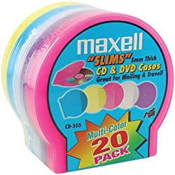MAXELL 190073 CD/DVD JEWEL CASES (20 PK; SLIM; ASSORTED COLORS)