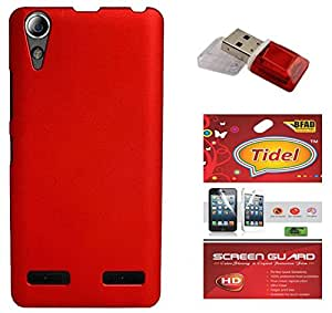 Tidel Stylish Rubberized Plastic Back Cover For Lenovo A6000 Shot ( Red ) With Screen Guard & Data Card Readar