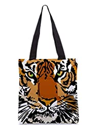 Snoogg Sketch Of White Tiger Vector Illustration Designer Poly Canvas Tote Bag