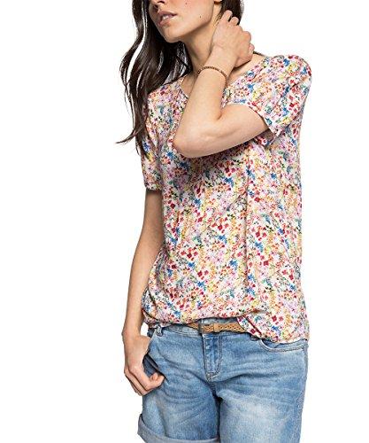 Damen Shirt Longshirt Rundhals Kurzarm Hüftlang   Rot  Beige M L XL