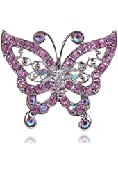 Large Radiant Pink Rose Crystal Rhinestone Butterfly Jewelry Custom Fashion Ring