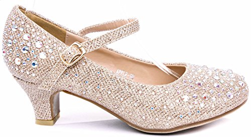 JJF Shoes Apple Kids Champagne Sparkling Mary Jane Rhinestone Glitter Formal Dress Low Heel Pumps-9