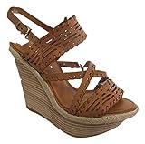 KAREN MILLEN Tan Brown All Leather Strappy Wedge Heel Open Sandals - Size 3 / EU36