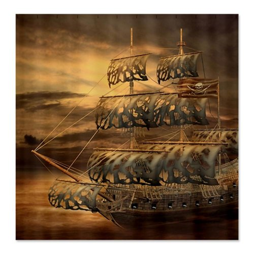 Cartoon Sailing Ship Design Shading Curtain Blackout: Best Pirate Ship Shower Curtain For The Bathroom