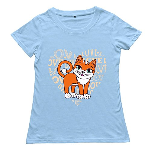 Women'S Love Cat Custom Funny Skyblue T Shirt By Rrg2G