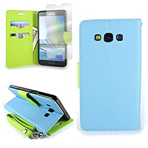 Samsung A7 Case [CoverON CarryAll Series] Wallet Pouch Flip Stand Cover Phone Case with Screen Protector for Samsung Galaxy A7 - Light Blue / Neon Green